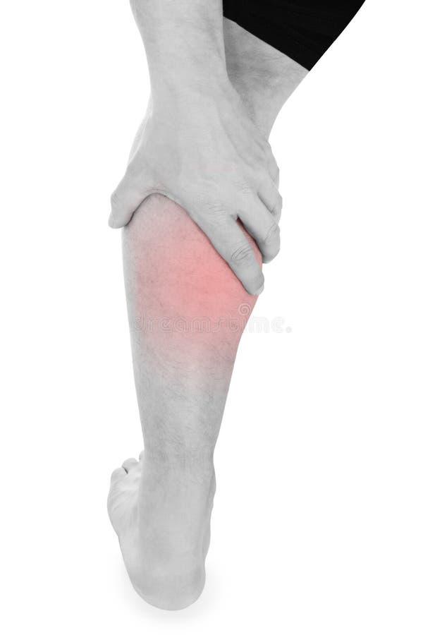 Mann mit den Bein-Schmerz lizenzfreie stockfotos