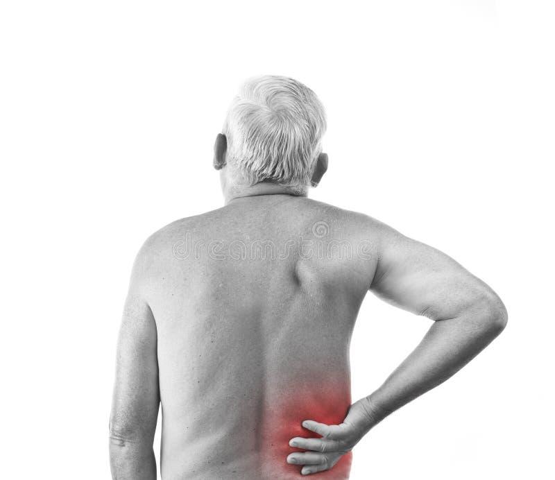 Mann mit den rückseitigen Schmerz lizenzfreie stockfotos