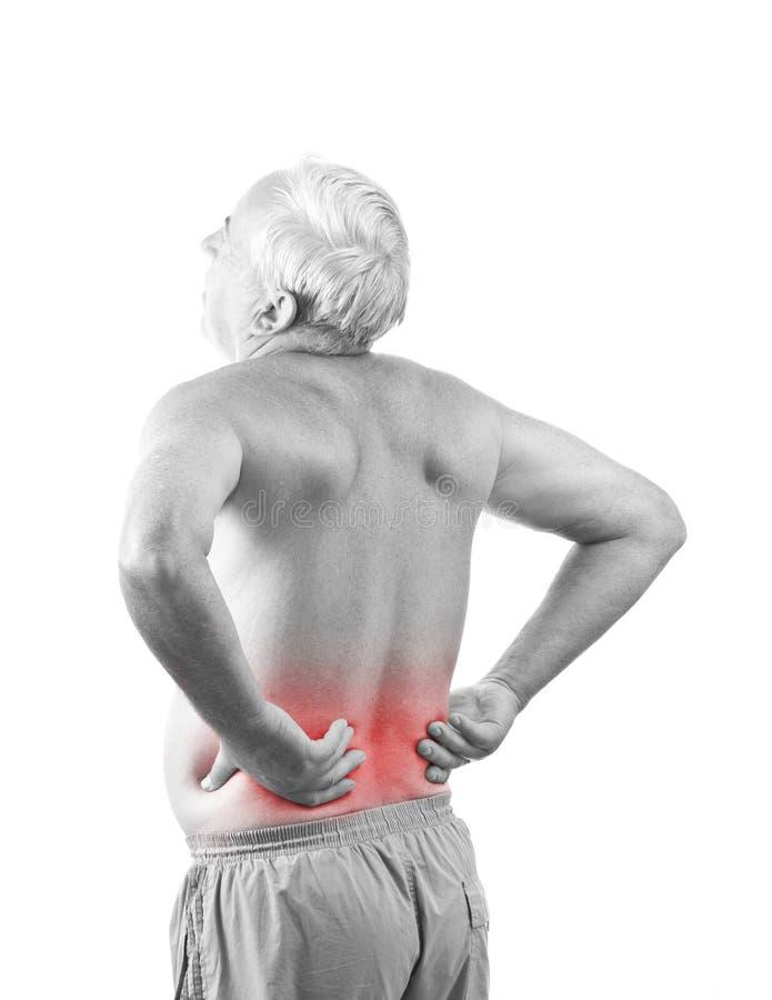 Mann mit den rückseitigen Schmerz stockfotos