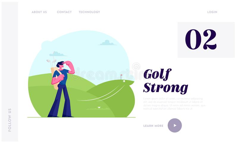 Mann mit der Berufsausrüstung, die Golf-Website-Landungs-Seite, Ball-Fliegen spielt, um zu durchlöchern Sport-Spiel, Turnier, Som vektor abbildung