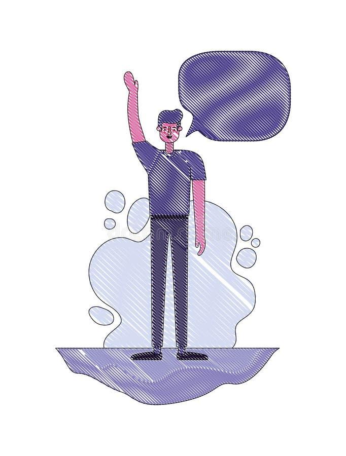 Mann mit der Hand herauf und Spracheblase stock abbildung