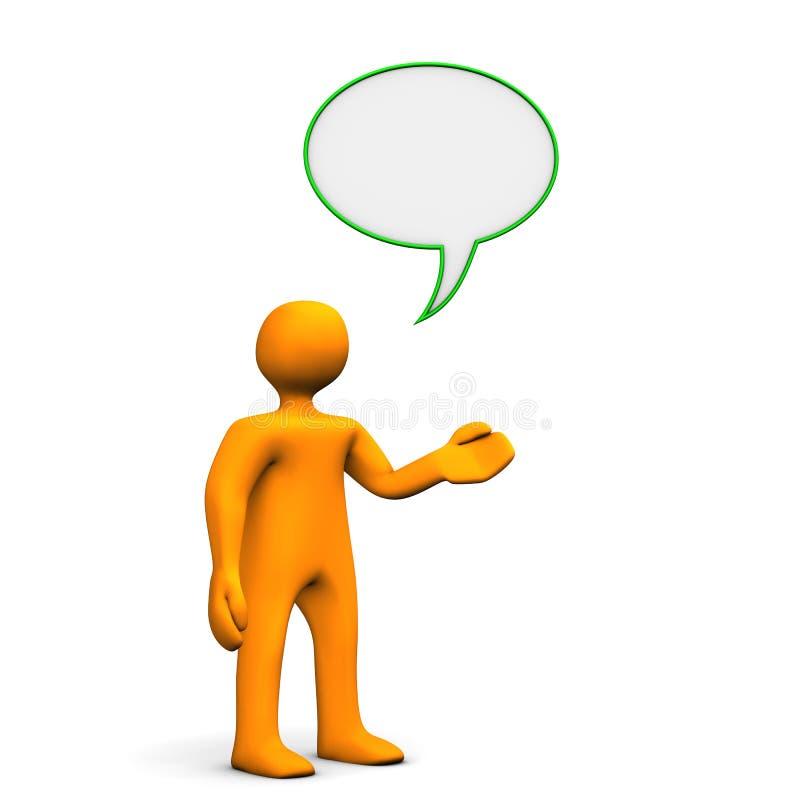 Mann mit Dialogluftblase lizenzfreie abbildung