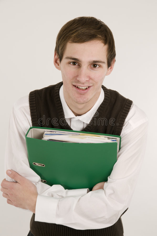 Mann mit Dokumentenfrontseite stockfotos