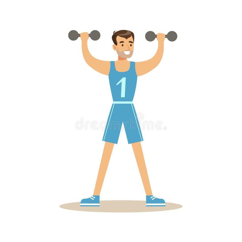 Mann mit Dummköpfen, Mitglied des Fitness-Clubs, der in der modischen Sportkleidung ausarbeitet und trainiert lizenzfreie abbildung