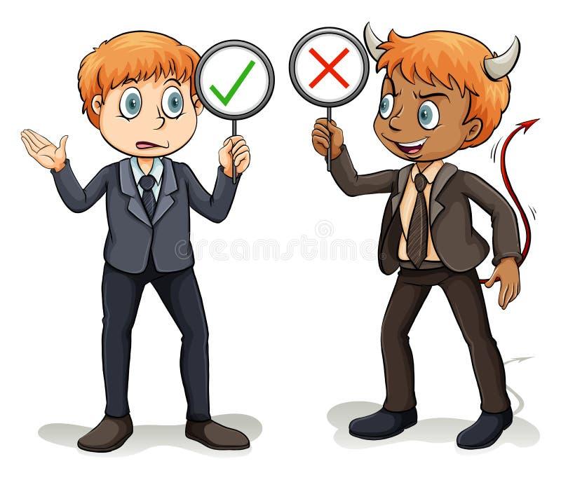 Mann mit einem Advokaten des Teufels stock abbildung