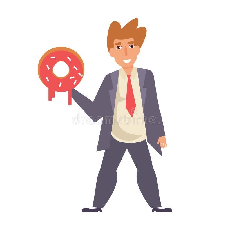 Mann mit einem Donut Vektor karikatur lizenzfreie abbildung