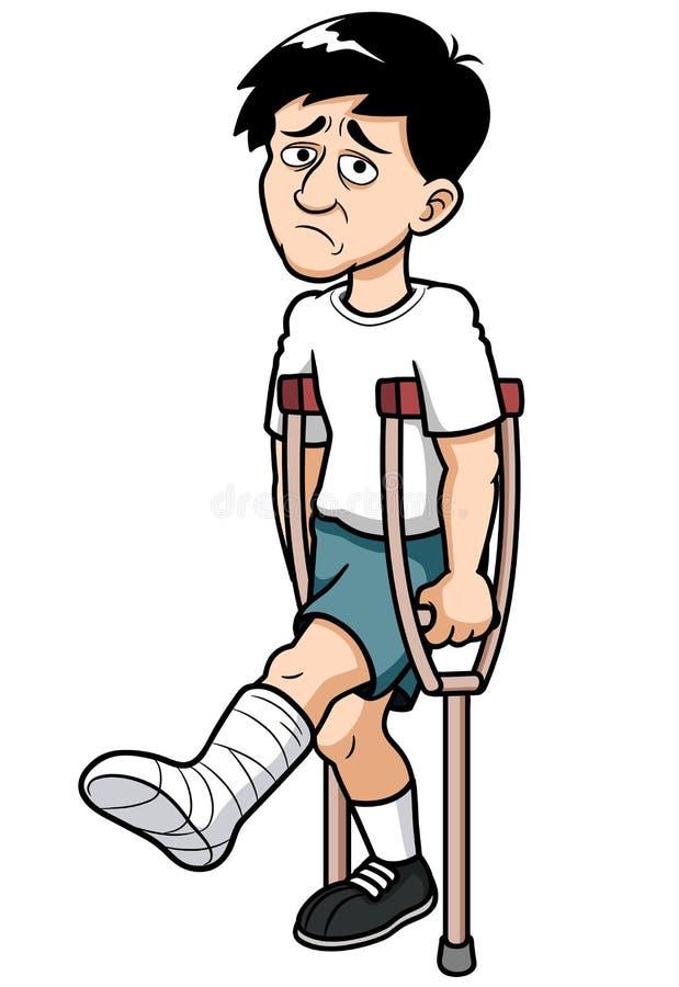 Mann mit einem gebrochenen Bein stock abbildung