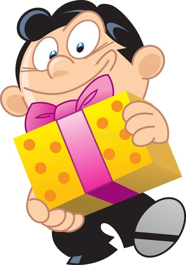 Mann mit einem Geschenk stock abbildung