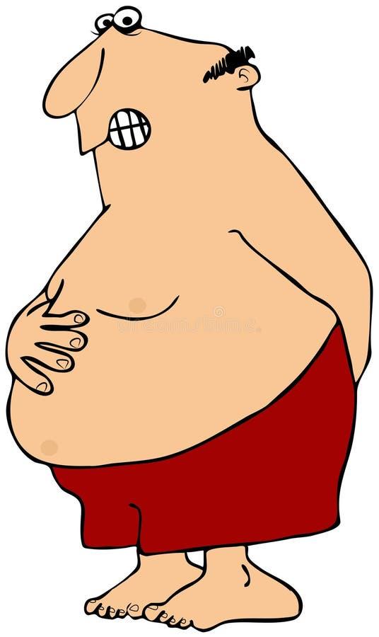 Mann mit einem Magenschmerz lizenzfreie abbildung