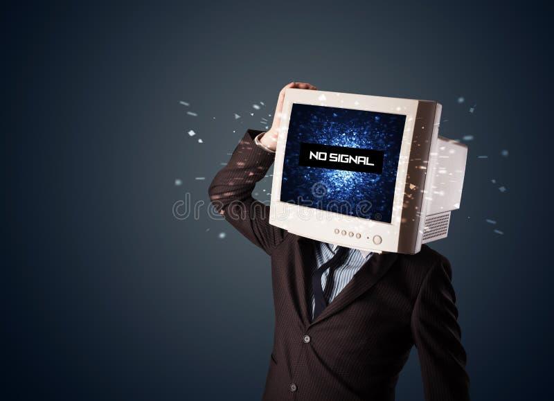 Mann mit einem Monitorkopf, kein Signalzeichen auf der Anzeige stockbilder