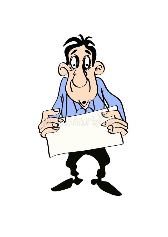 Mann mit einem Plakat in seinen Händen, lokalisiert auf weißem Hintergrund vektor abbildung