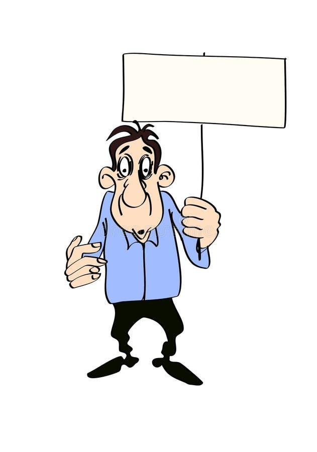 Mann mit einem Plakat in seinen Händen, lokalisiert auf weißem Hintergrund lizenzfreie abbildung