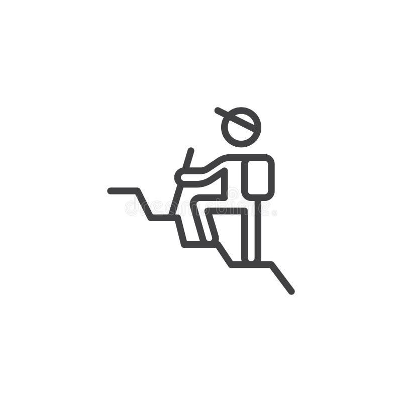 Mann mit einem Rucksack, der Linie Ikone wandert lizenzfreie abbildung