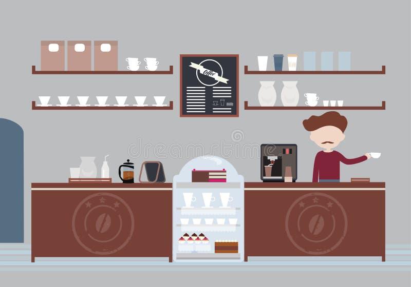 Mann mit einem Schnurrbart, einem Inhaber oder einem Barmixer, die in Cafeteria b stehen lizenzfreie abbildung