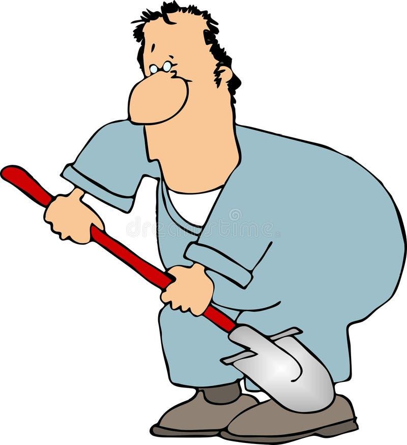 Mann mit einer Schaufel stock abbildung