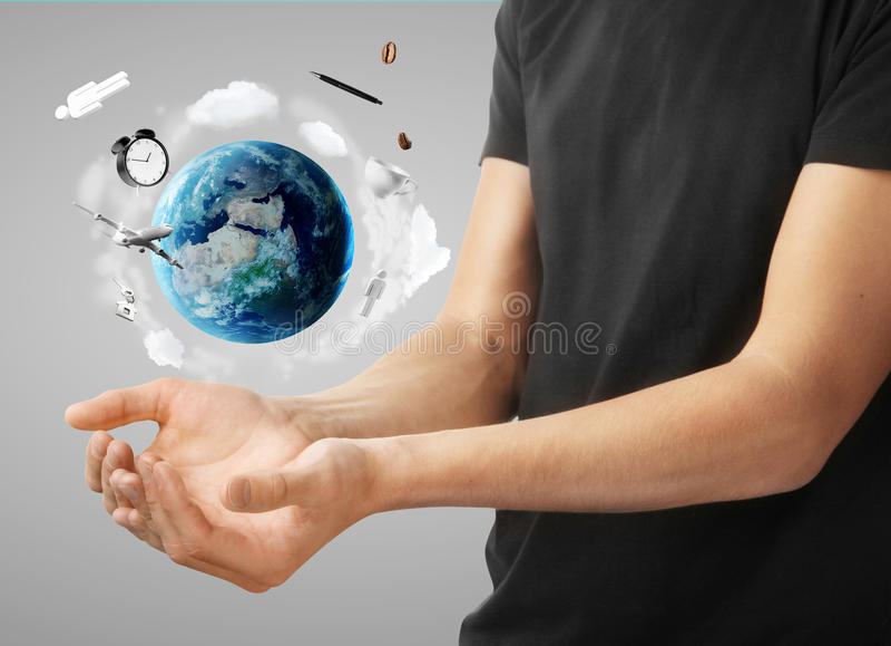 Mann mit Erde
