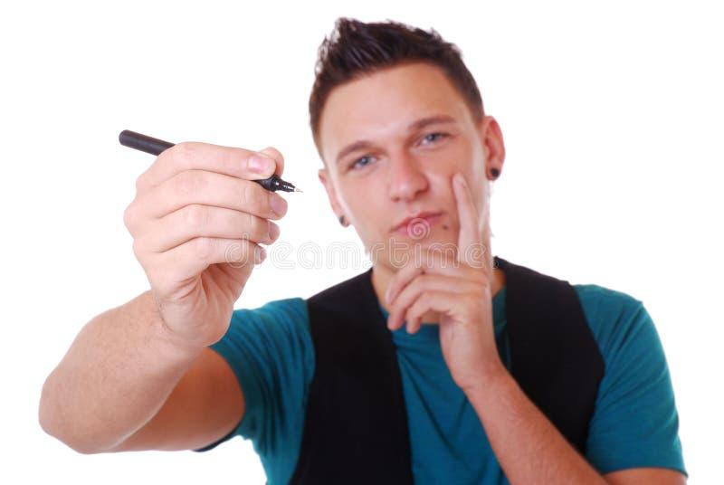 Mann mit Feder stockbilder