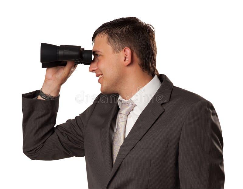 Mann mit Feldglas lizenzfreie stockfotos