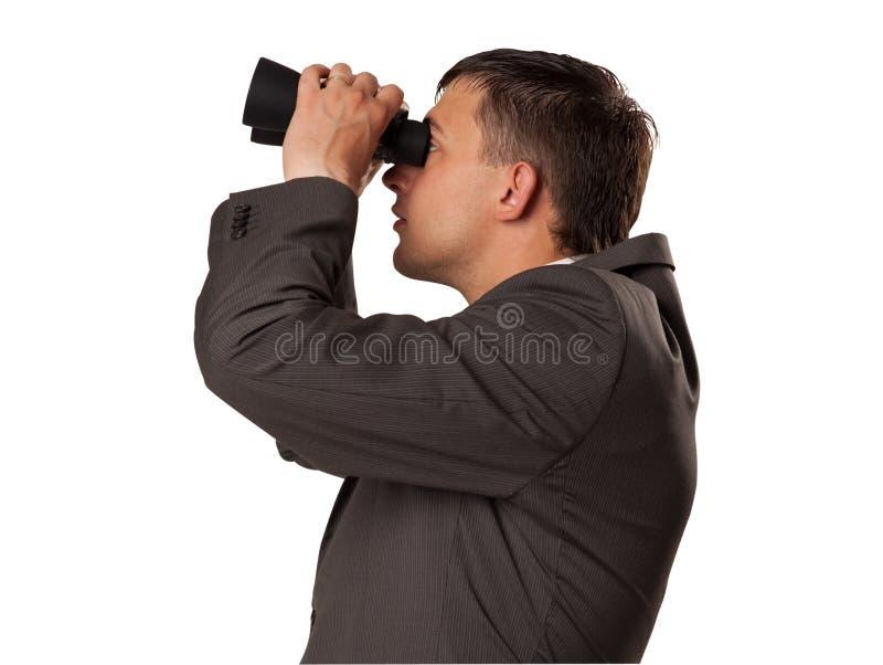 Mann mit Feldglas lizenzfreies stockfoto