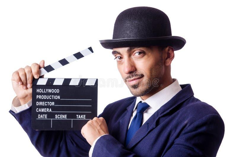 Mann Mit Filmscharnierventil Lizenzfreie Stockfotografie