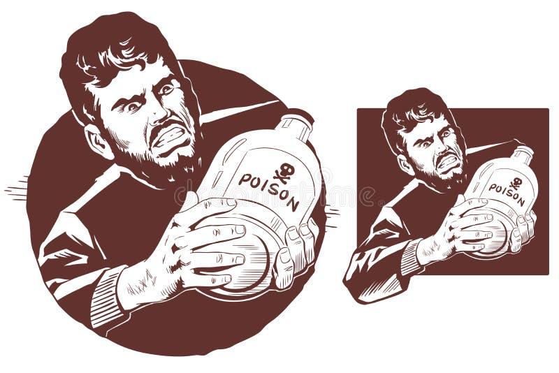 Mann mit Flasche Gift Auf lagerabbildung stock abbildung