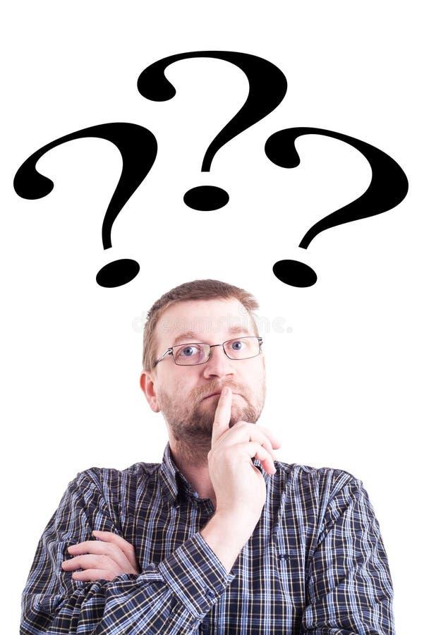 Mann mit Fragezeichen lizenzfreies stockbild