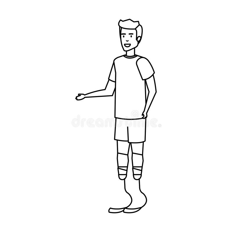 Mann mit Fußprothese lizenzfreie abbildung