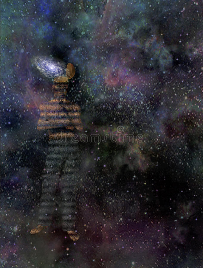 Mann mit Galaxieverstand vektor abbildung