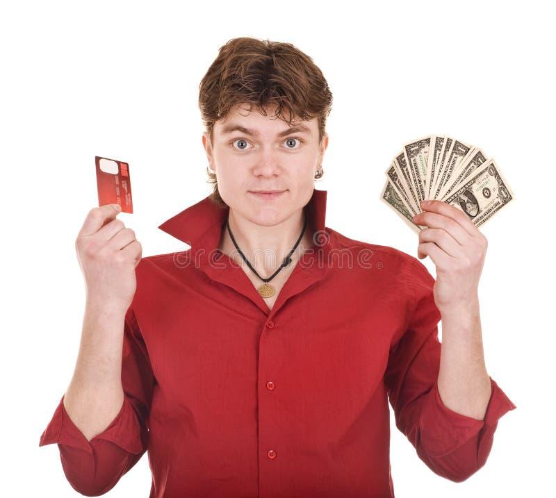 Mann mit Geld und Kreditkarte. lizenzfreie stockfotografie