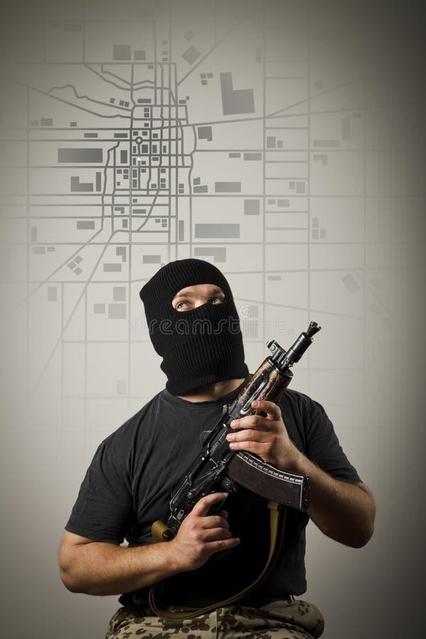 Mann mit Gewehr Nahtloser Hintergrund stockbilder