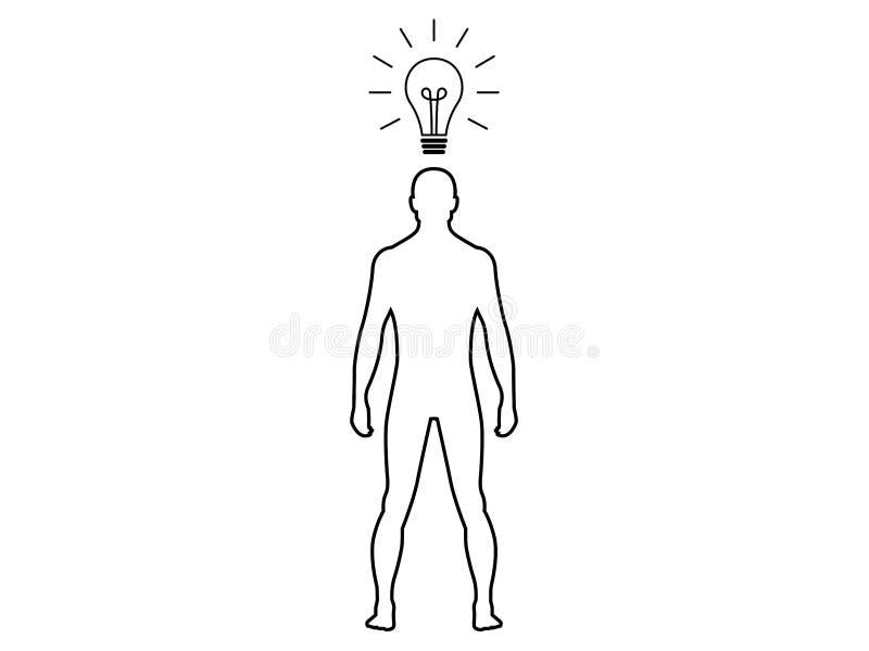 Mann mit Glühlampe oben vektor abbildung