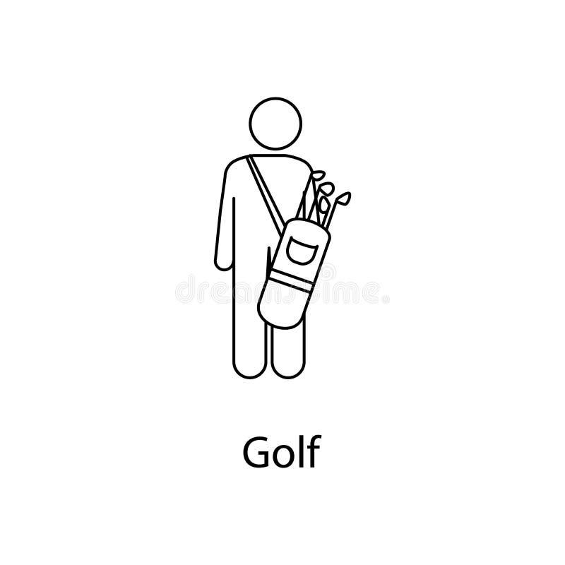 Mann mit Golftascheillustration Element einer Person trägt für bewegliche Konzept und Netz apps Dünne Linie Mann mit Golftasche i stock abbildung