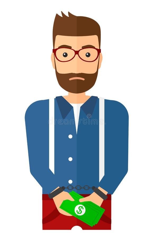 Mann mit Handschellen gefesselt für Verbrechen vektor abbildung