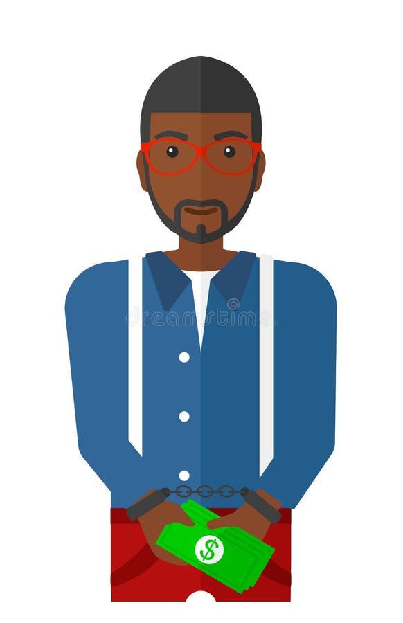 Mann mit Handschellen gefesselt für Verbrechen lizenzfreie abbildung