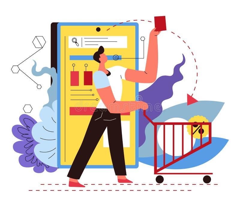 Mann mit Handwagen, dem on-line-Einkaufen und Zustelldienst, Smartphone App vektor abbildung