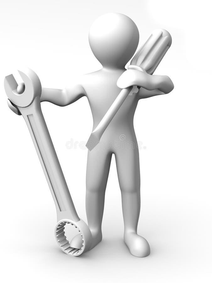Mann mit Hilfsmitteln. Pflege vektor abbildung