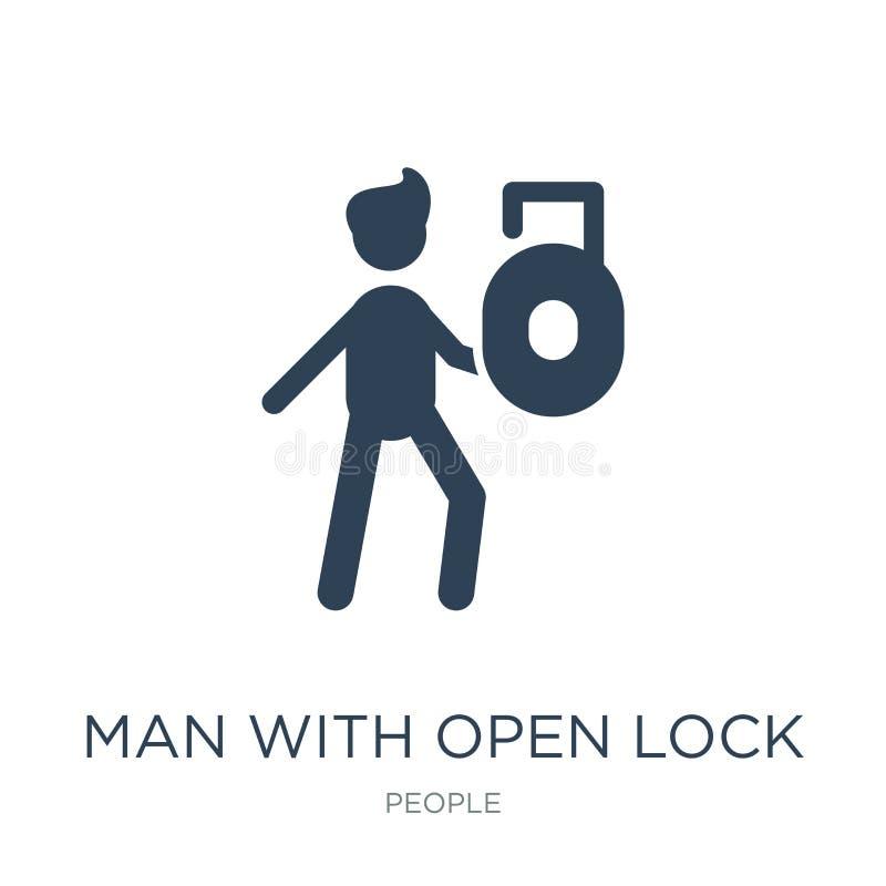 Mann mit Ikone des offenen Verschlusses in der modischen Entwurfsart Mann mit der Ikone des offenen Verschlusses lokalisiert auf  stock abbildung