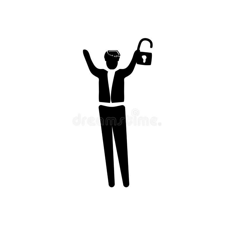 Mann mit Ikonenvektor des offenen Verschlusses lokalisiert auf weißem Hintergrund, Mann mit Zeichen des offenen Verschlusses, Ges lizenzfreie abbildung