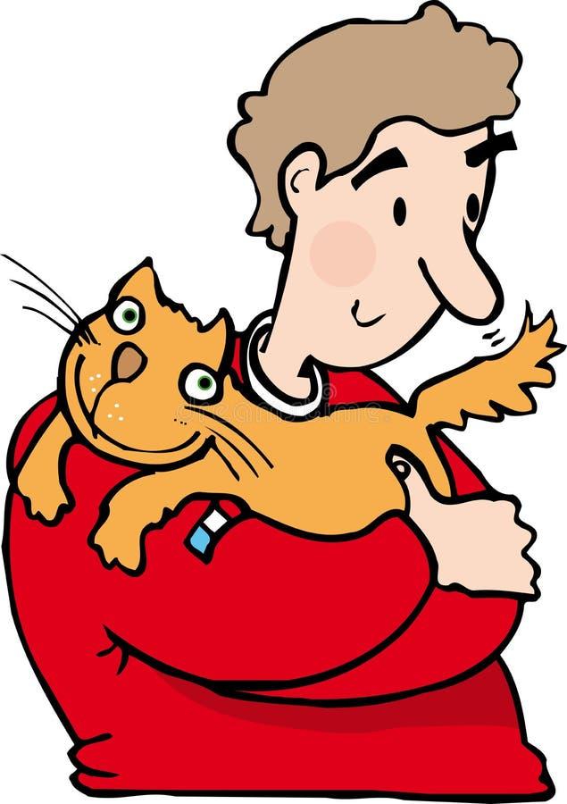 Mann mit Katze vektor abbildung