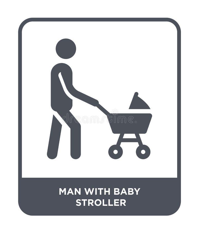 Mann mit Kinderwagenikone in der modischen Entwurfsart Mann mit der Kinderwagenikone lokalisiert auf weißem Hintergrund Mann mit  vektor abbildung