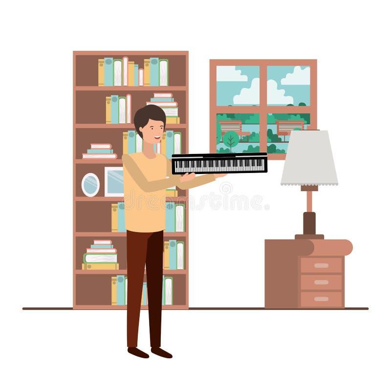Mann mit Klaviertastatur im Wohnzimmercharakter stock abbildung