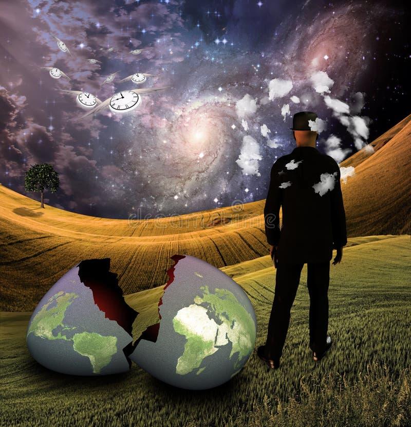 Mann mit Kopf in den Wolken mit Erdeei stock abbildung