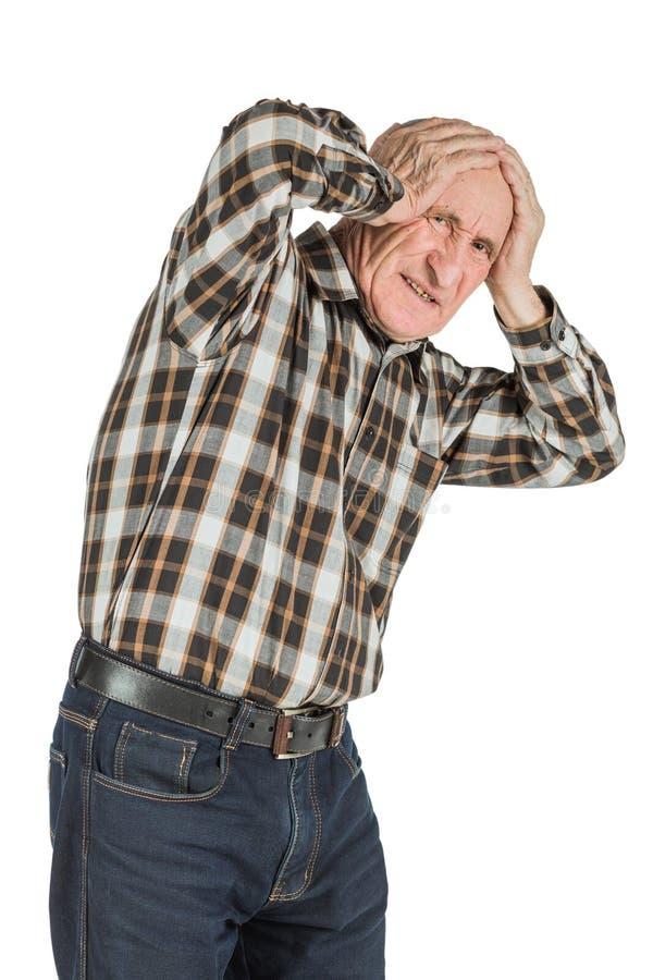 Mann mit Kopfschmerzen lokalisiert auf einem weißen Hintergrund lizenzfreies stockfoto