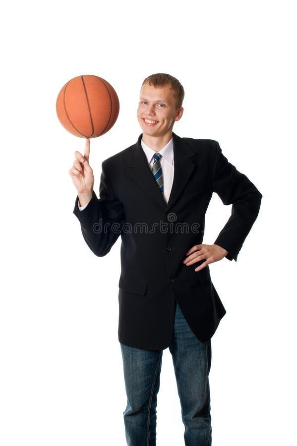 Mann mit Kugel stockbilder
