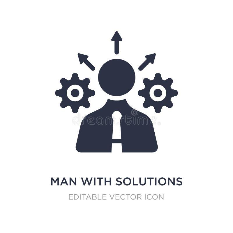 Mann mit Lösungsikone auf weißem Hintergrund Einfache Elementillustration vom Geschäftskonzept vektor abbildung