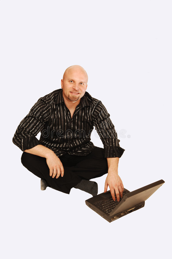 Mann mit Laptop. lizenzfreies stockfoto