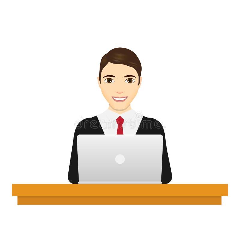 Mann mit Laptop Geschäftsmann in einer Klage, die an einer Laptop-Computer an seinem Schreibtisch arbeitet Getrennt auf weißem Hi lizenzfreie abbildung