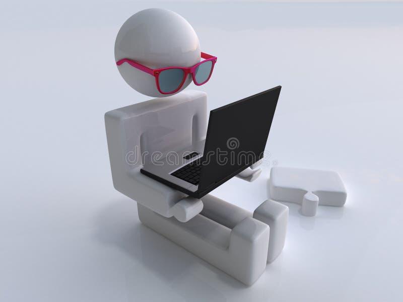 Mann mit Laptop und Glas lizenzfreie abbildung