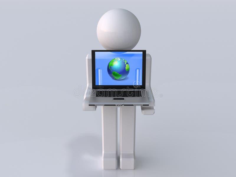 Mann mit Laptopen vektor abbildung
