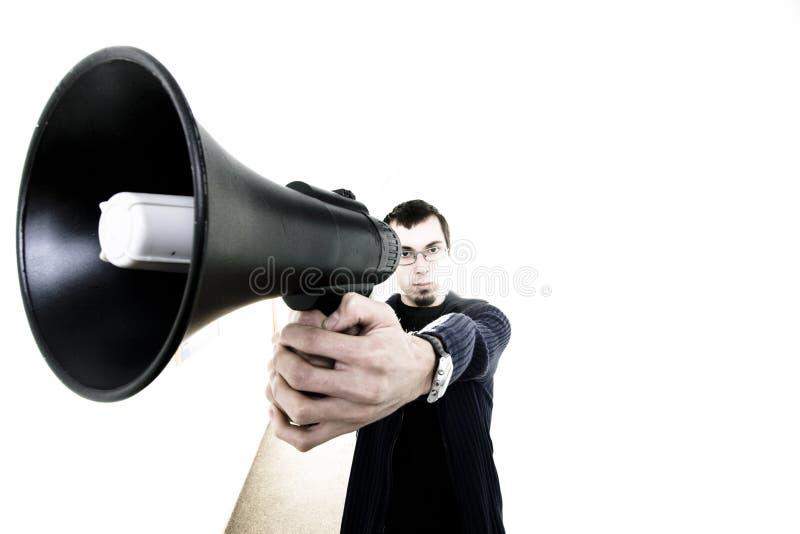 Mann mit Lautsprecher lizenzfreie stockbilder